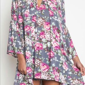 Umgee Floral Trapeze Dress/Tunic